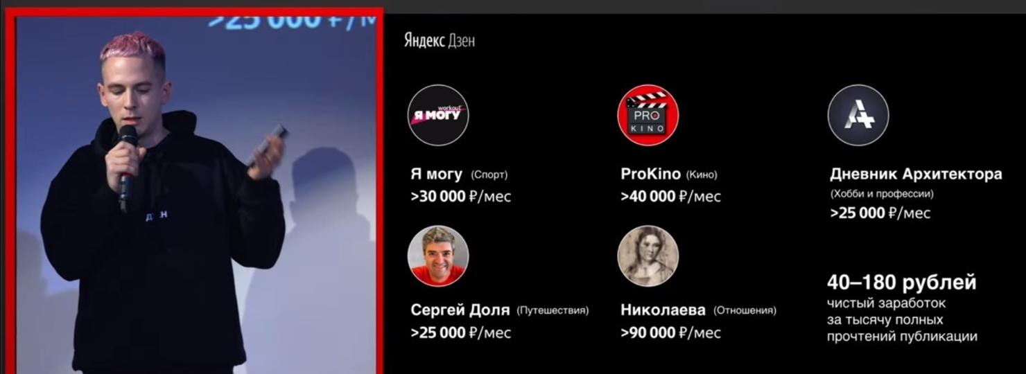 Скриншот презентации от Яндекс Дзен изобаржение